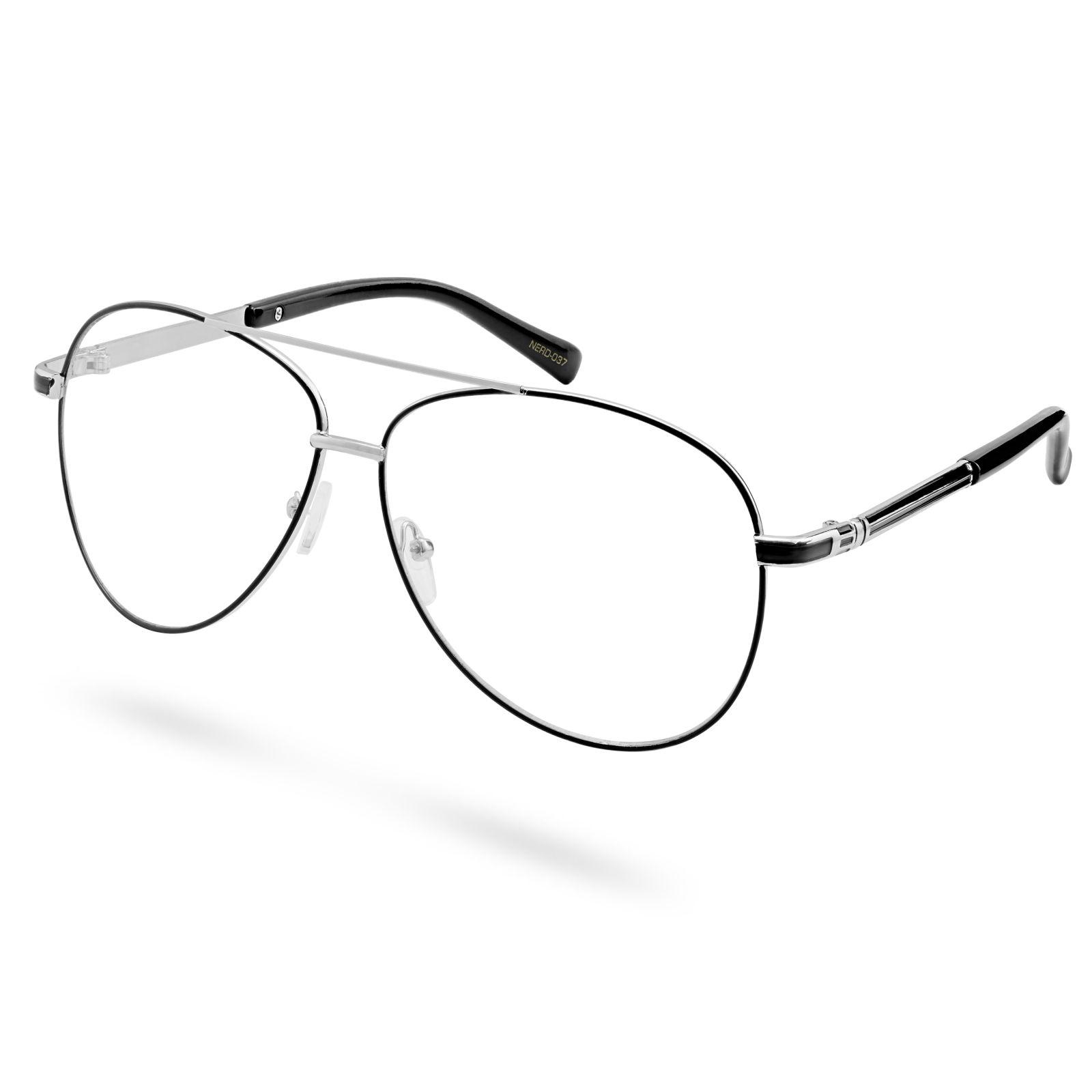 52d301adc66b Professorbriller med Sølvfarget og Svart Innfatning