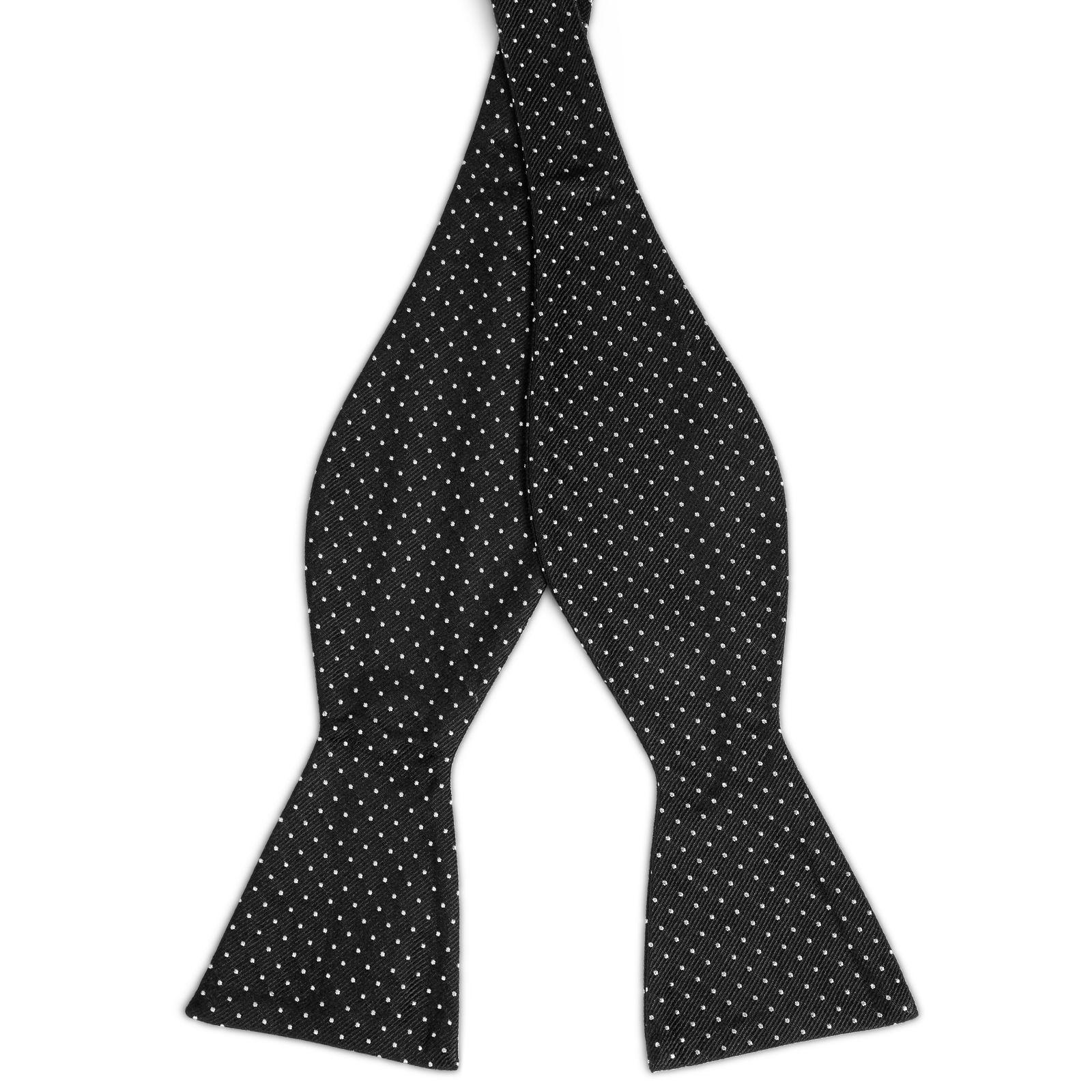 9ef5447775 Fekete-fehér pöttyös selyem önkötő csokornyakkendő | Készleten! | TND Basics
