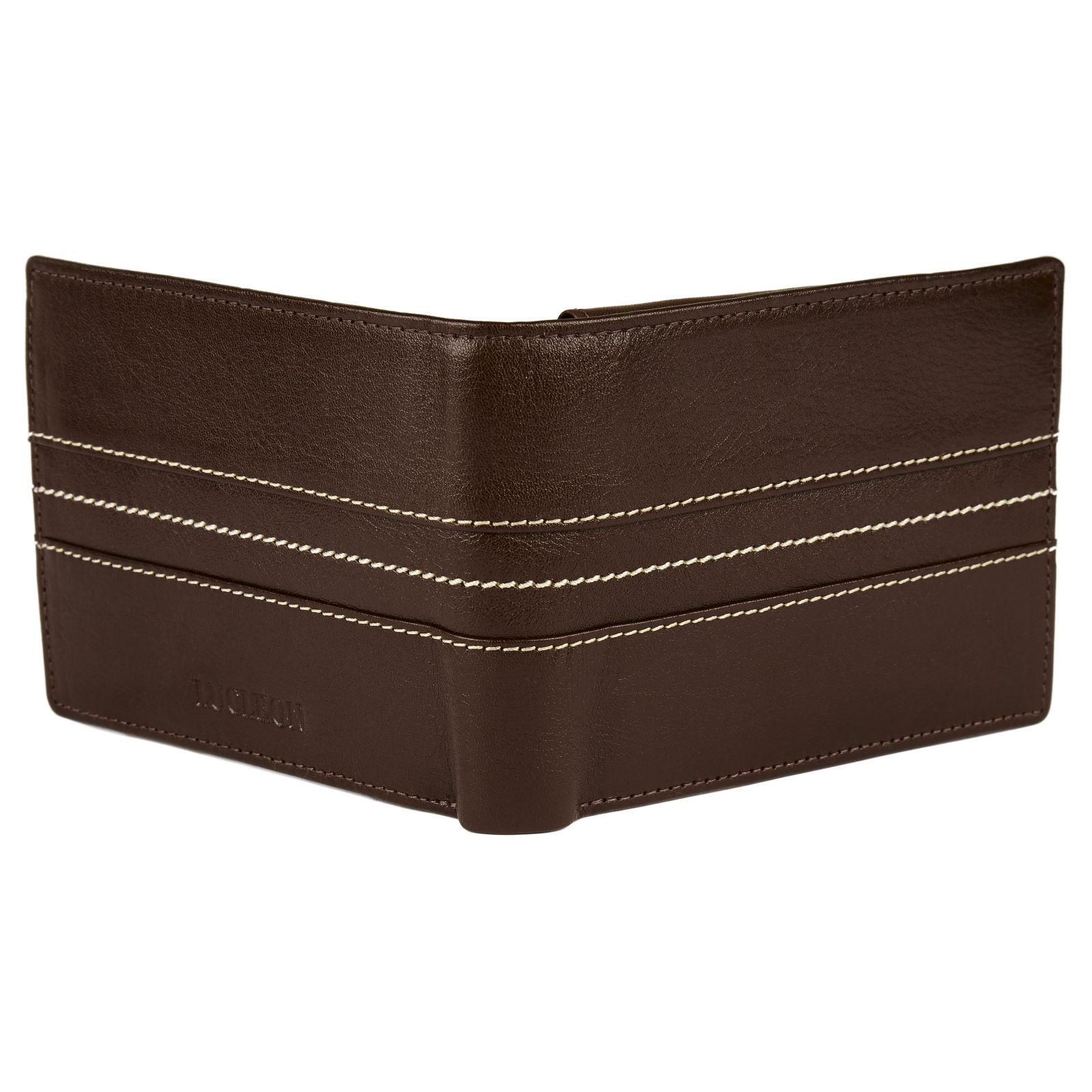 76b3937ce66ae Brązowy skórzany zszywany potrójnie składany portfel Royce | Darmowa  wysyłka | Lucleon