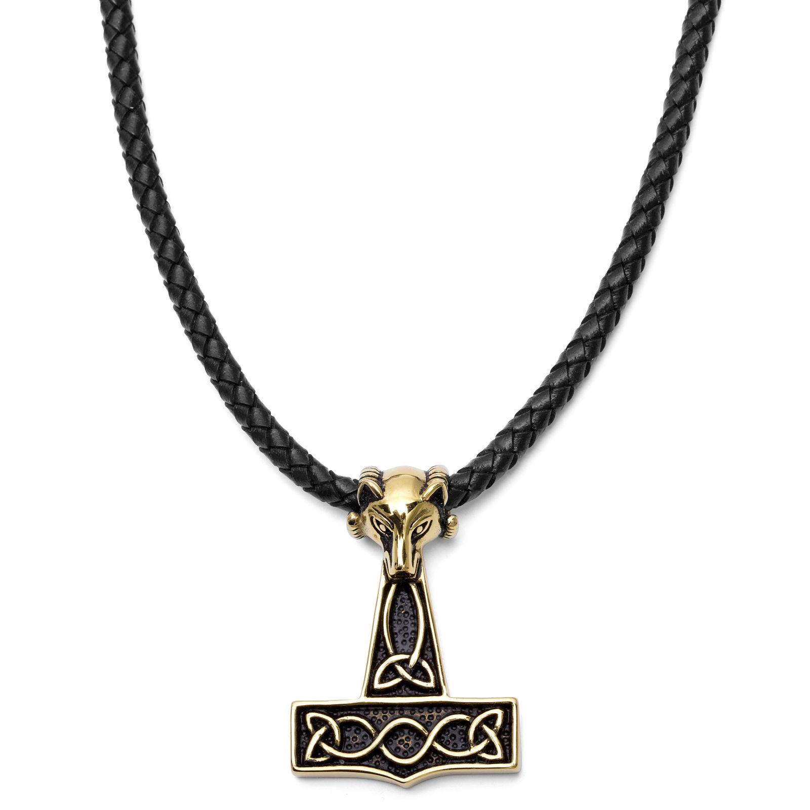 Zlatý vlk černý kožený náhrdelník 6cd3d7b80bc