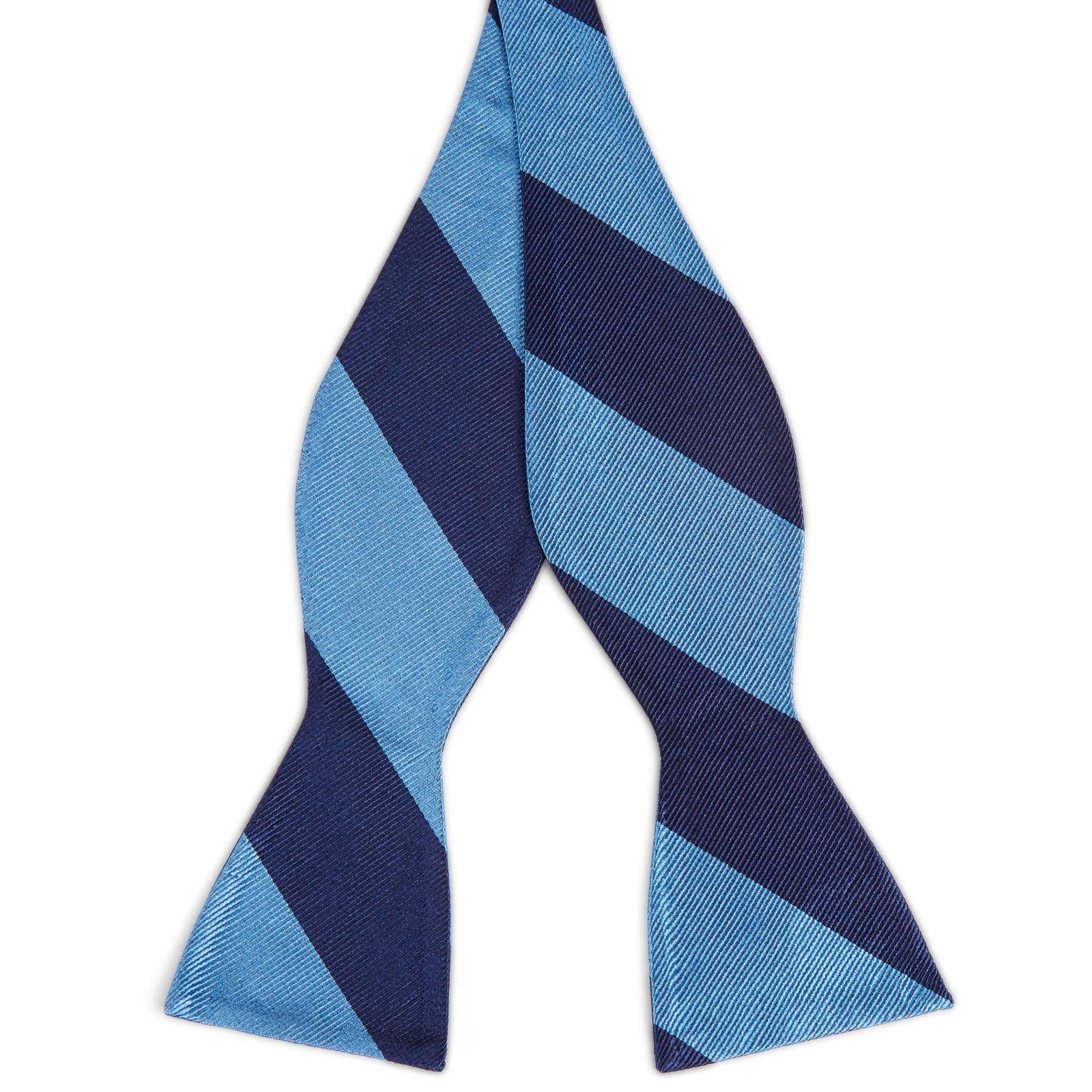 4e1acd557cc508 Blauwe   Marineblauwe Gestreepte Zijden Zelfbinder Vlinderdas