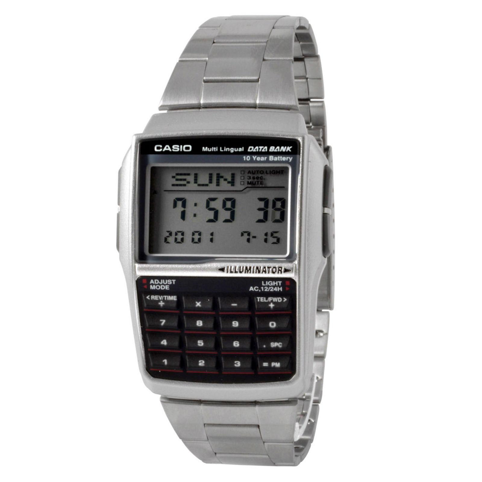 5bff35626111 Reloj plateado con banco de datos