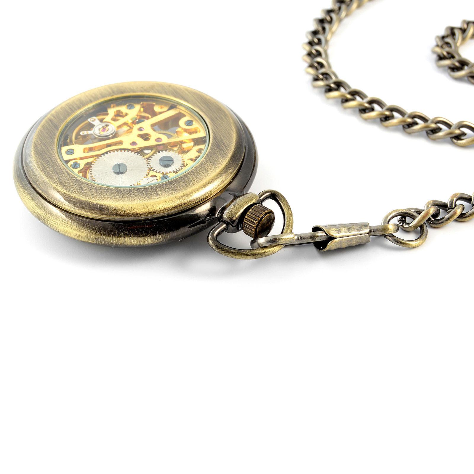 143035e1c5d Zlaté mechanické kapesní hodinky Retro