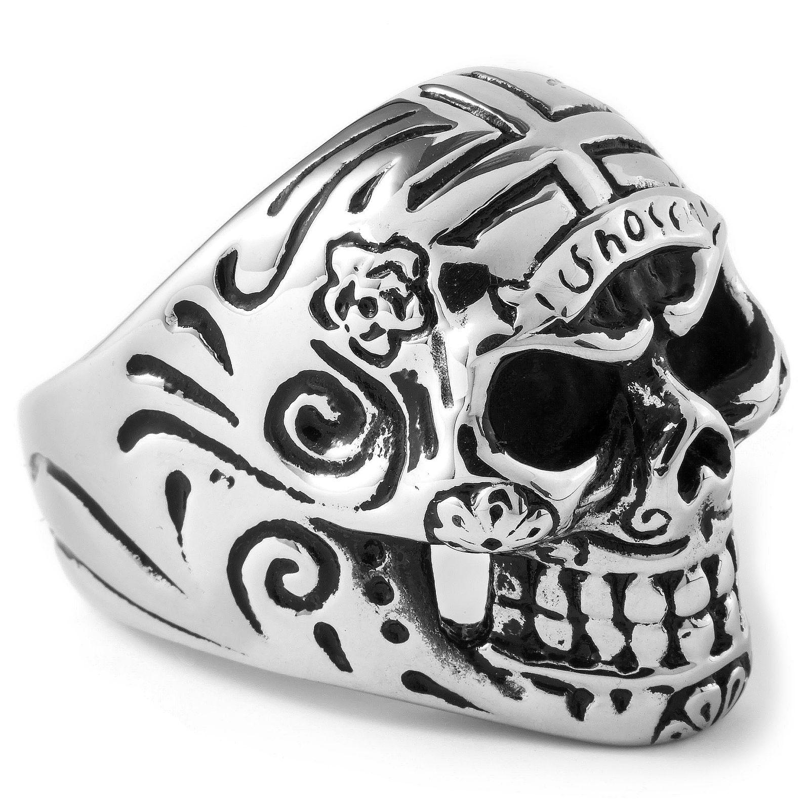 Ατσαλένιο Δαχτυλίδι Hippie Skull  787fc752039