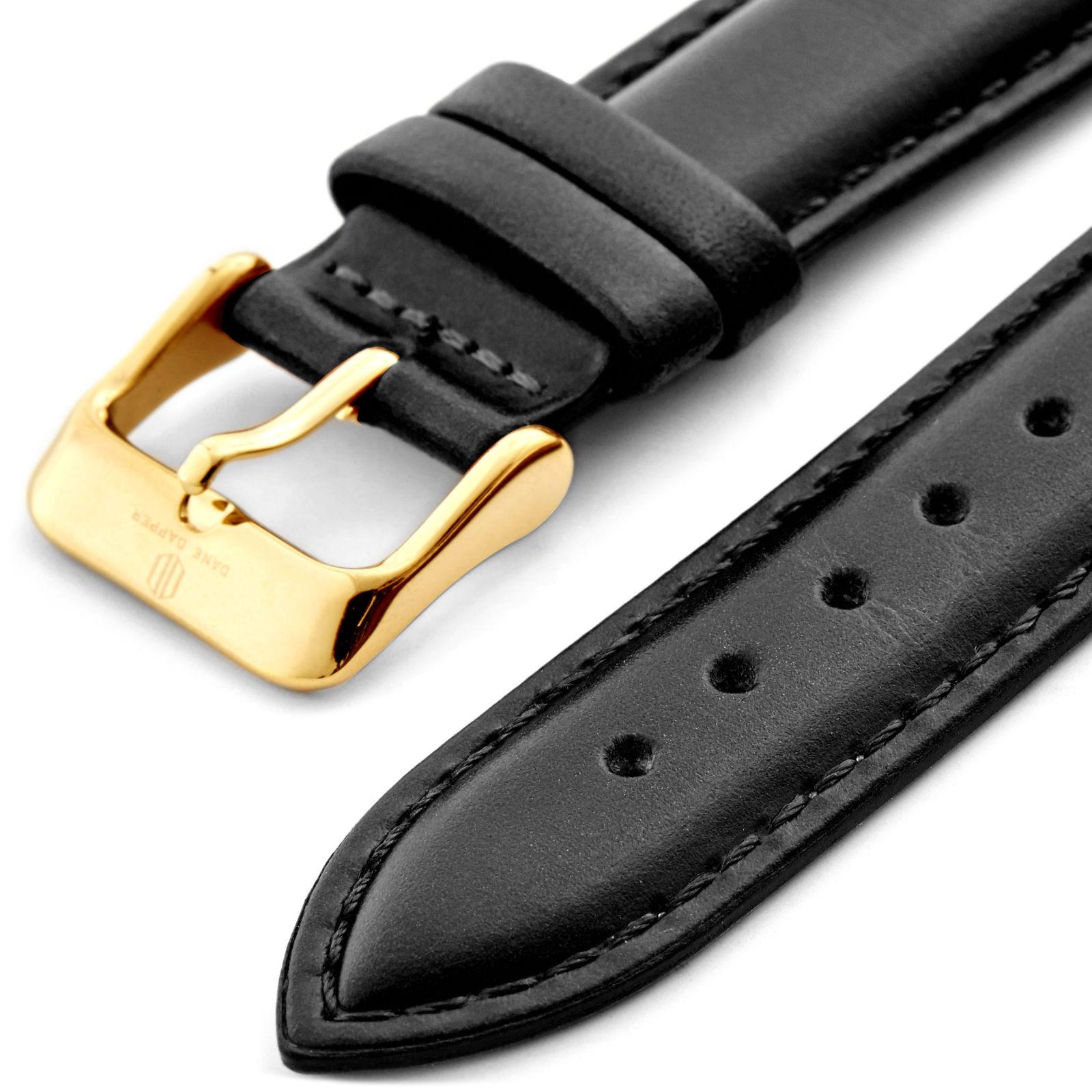 Vintage čierno-zlatý kožený remienok na hodinky  8266b541a16