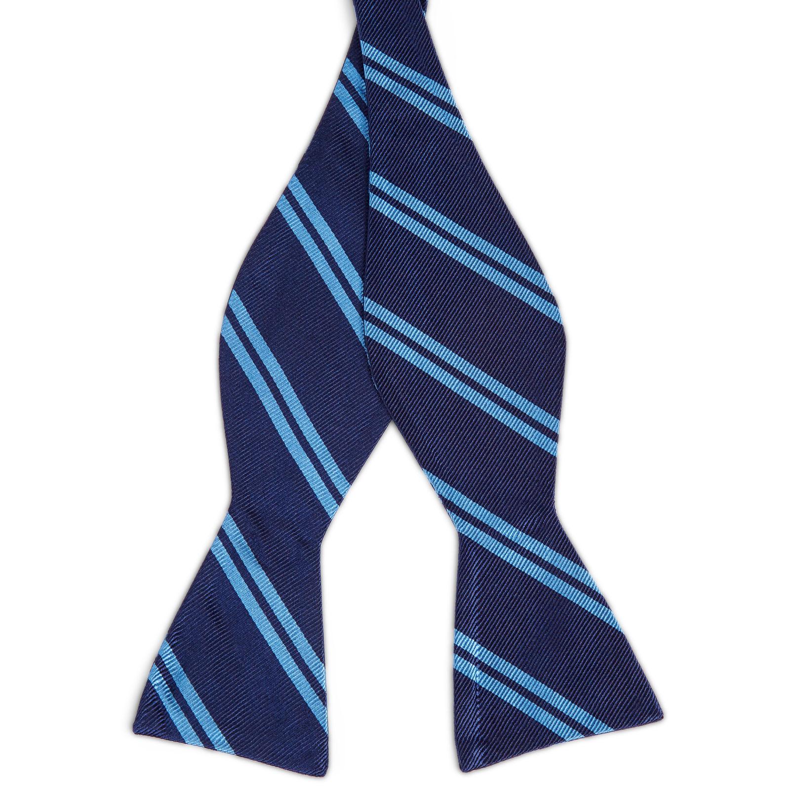 2713f9d6d9c Marineblauwe Zijden Zelfbinder Vlinderdas met Dubbele Blauwe Streep | Op  voorraad | TND Basics