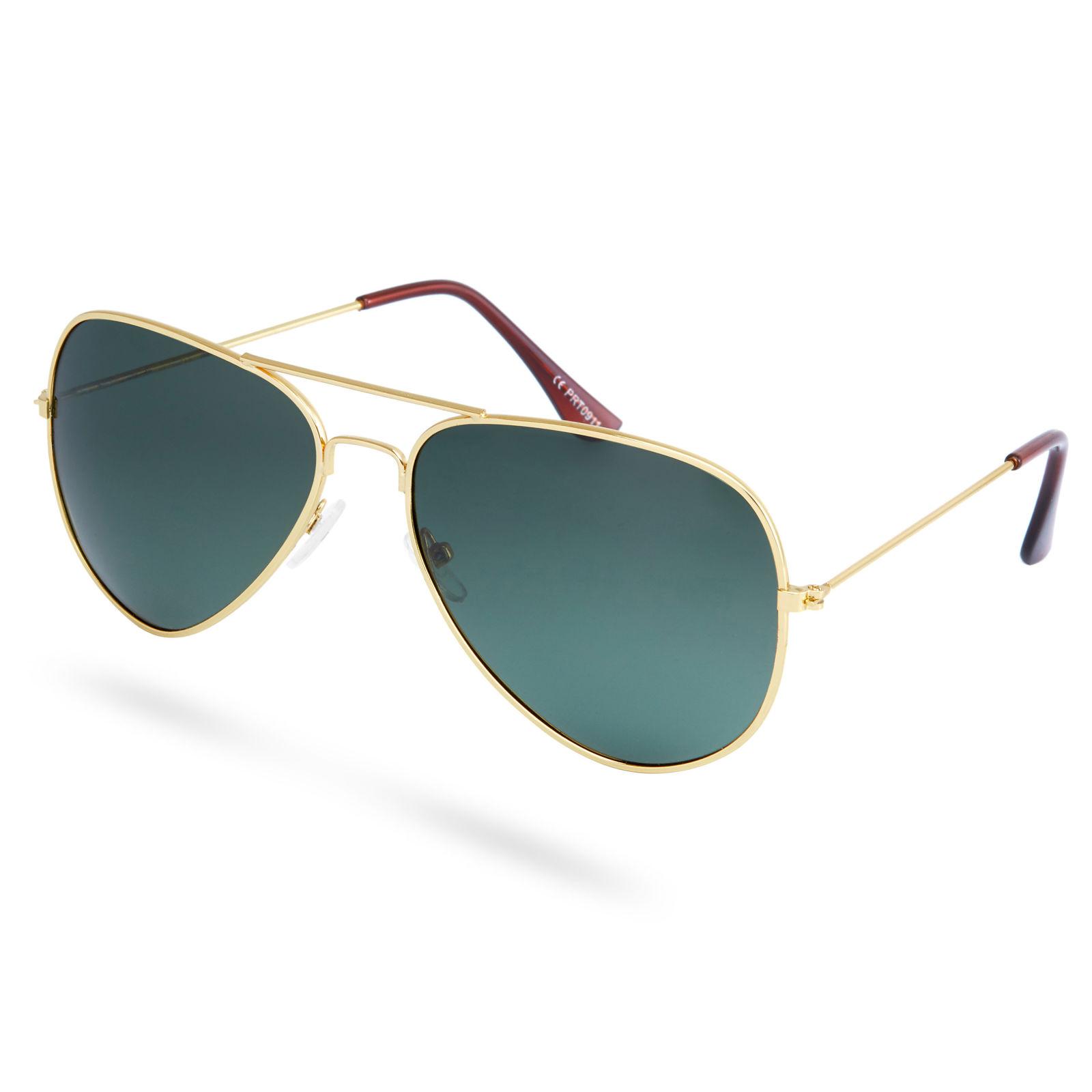 b373ab5a52b9 Guld   Mørkegrønne Polariserede Aviator Solbriller