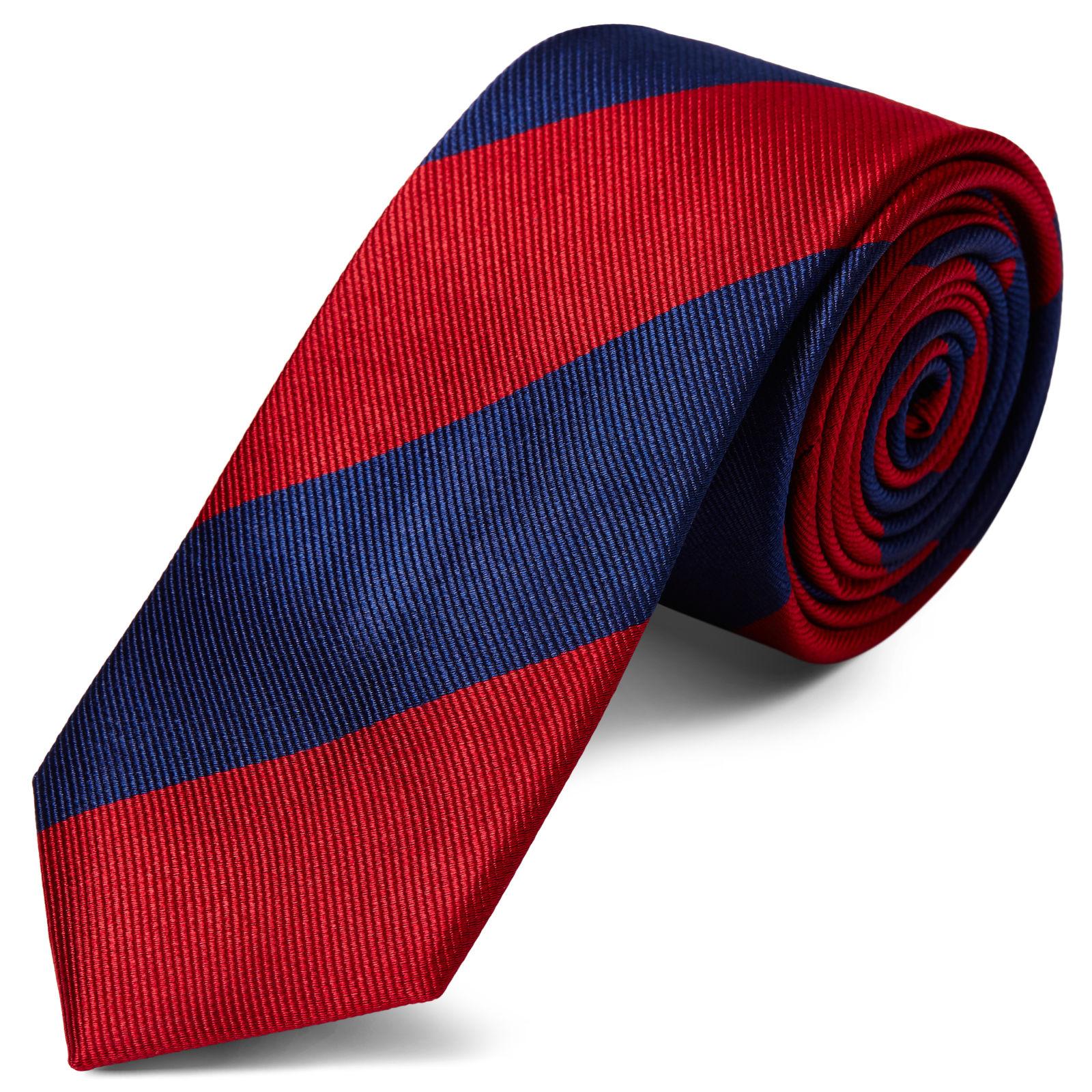 Orange & Pastel Blue Stripe Navy Silk 6cm Necktie Trendhim