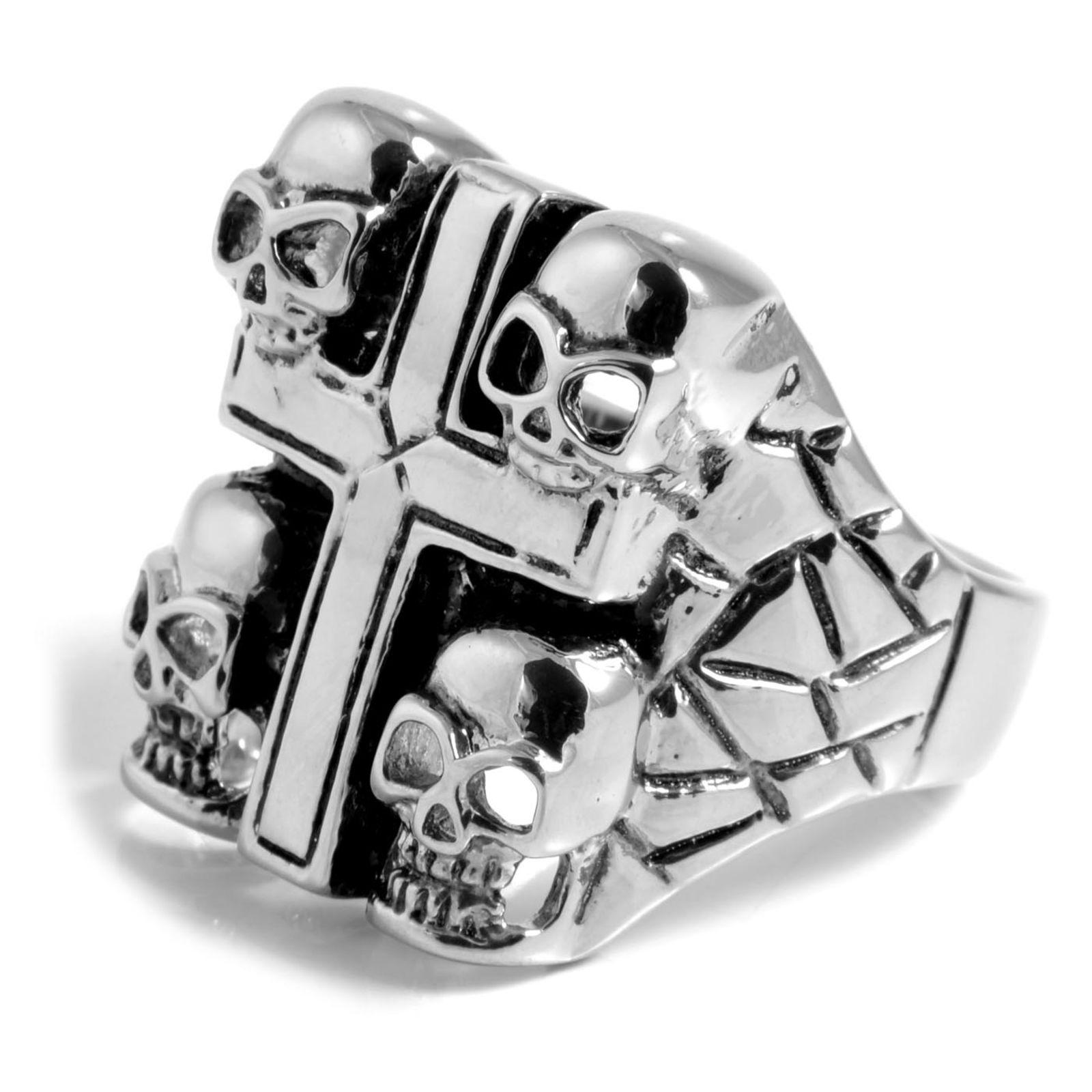 Ατσαλένιο Δαχτυλίδι Cross   Skulls  512fb06f160