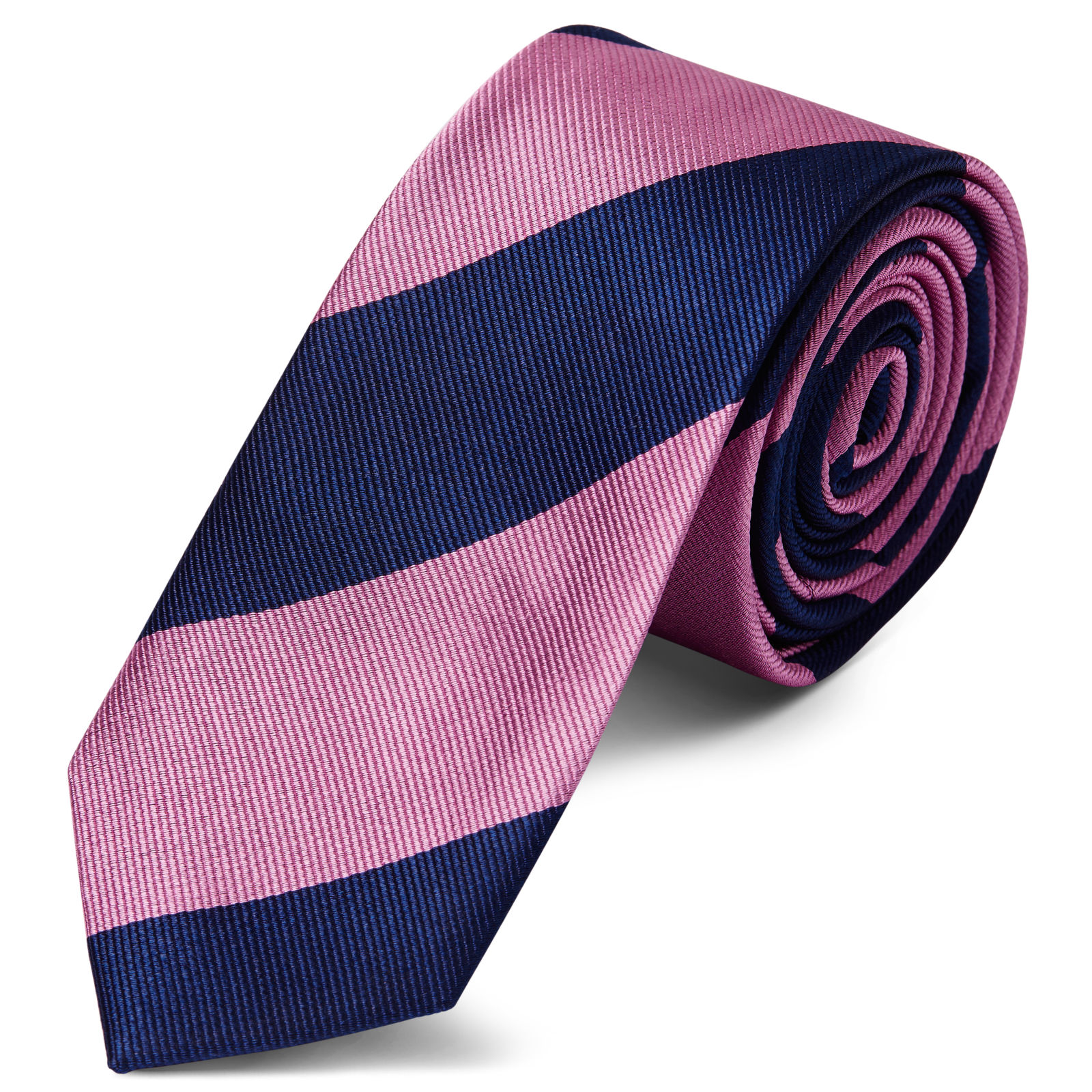 8c53a63df0d6 Pink & Navy Stripe Silk 6cm Necktie | In stock! | TND Basics
