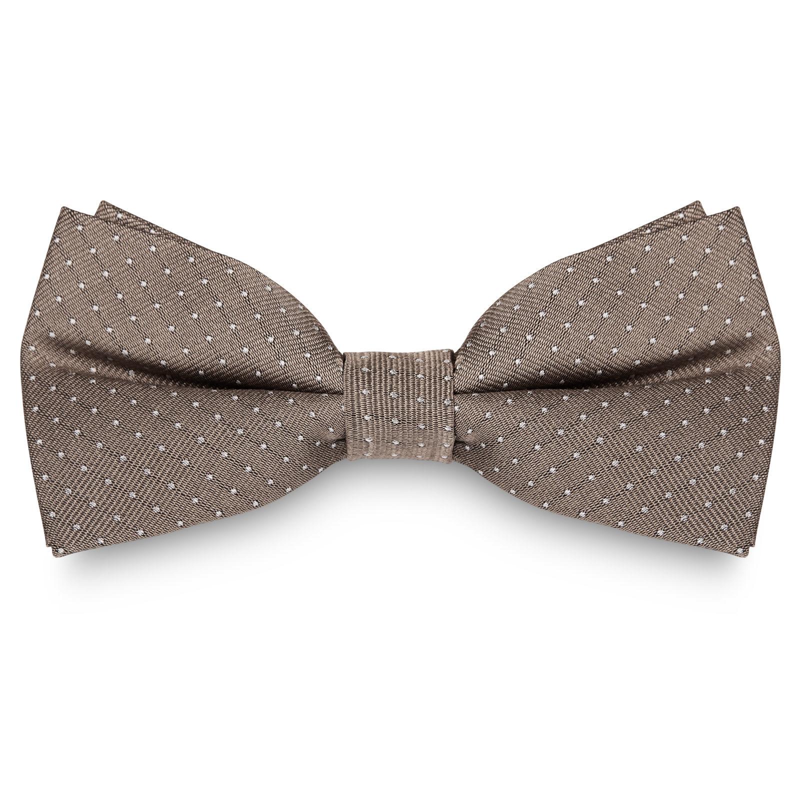 5c110470141 Beige Polka Dot Silk Bow Tie
