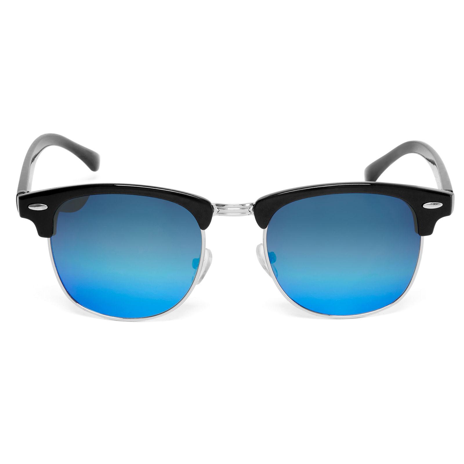 Schwarze Browline Sonnenbrille Mit Blau Verspiegelten ...