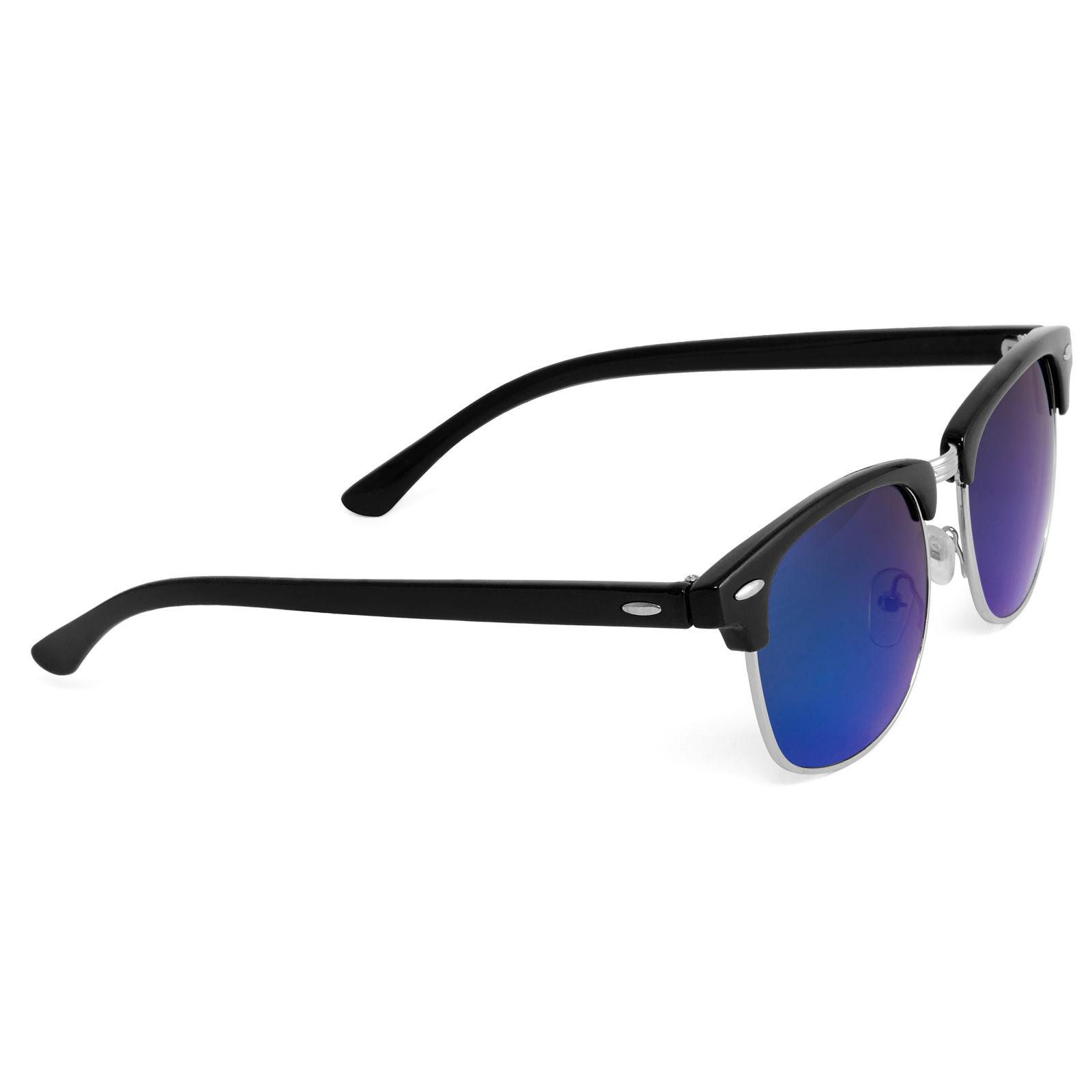 Fekete vastagított keretes napszemüveg kék tükrözött lencsékkel ... 34c8f3d9da