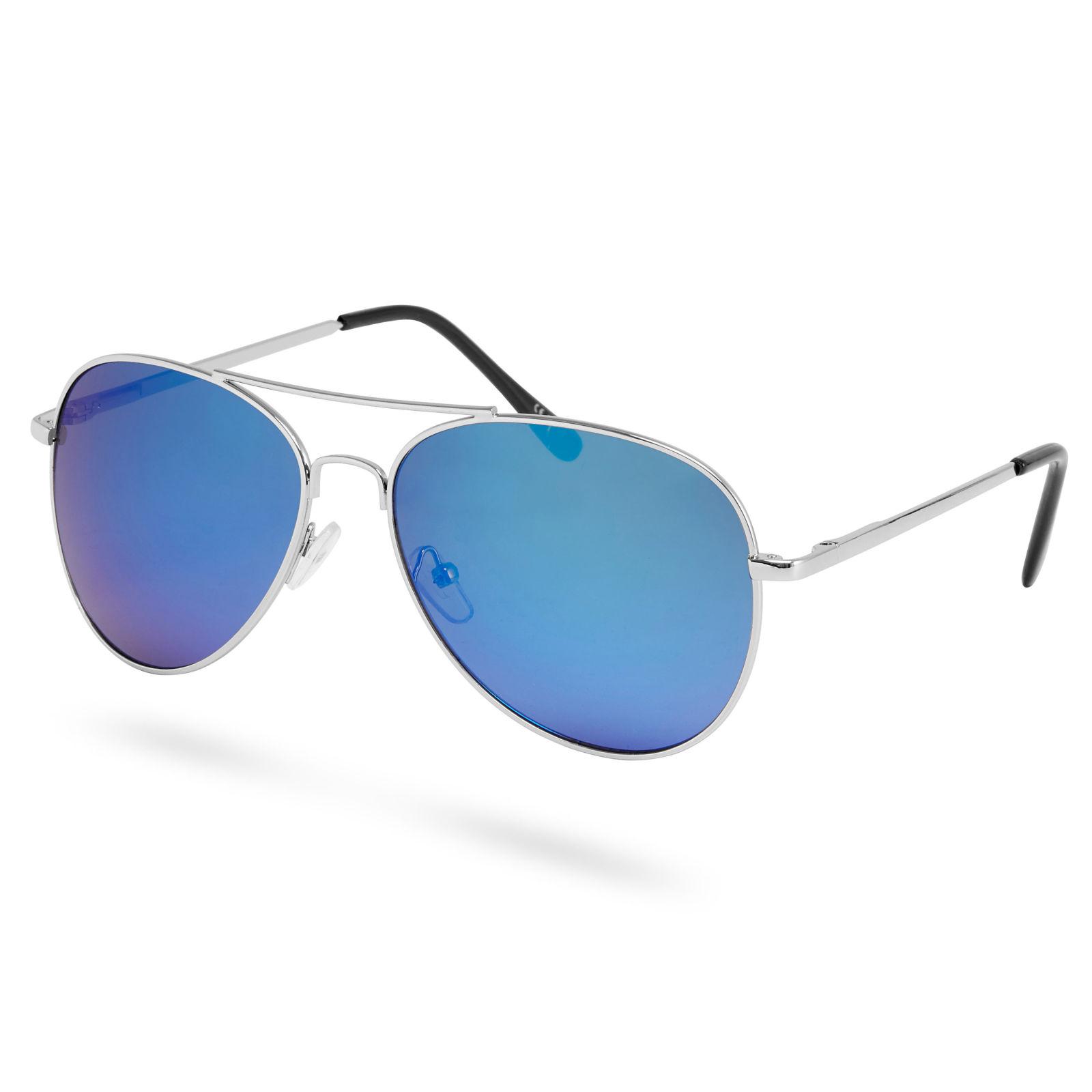 df957becdf34 Sølv   Blå Aviator Solbriller med Spejlglas