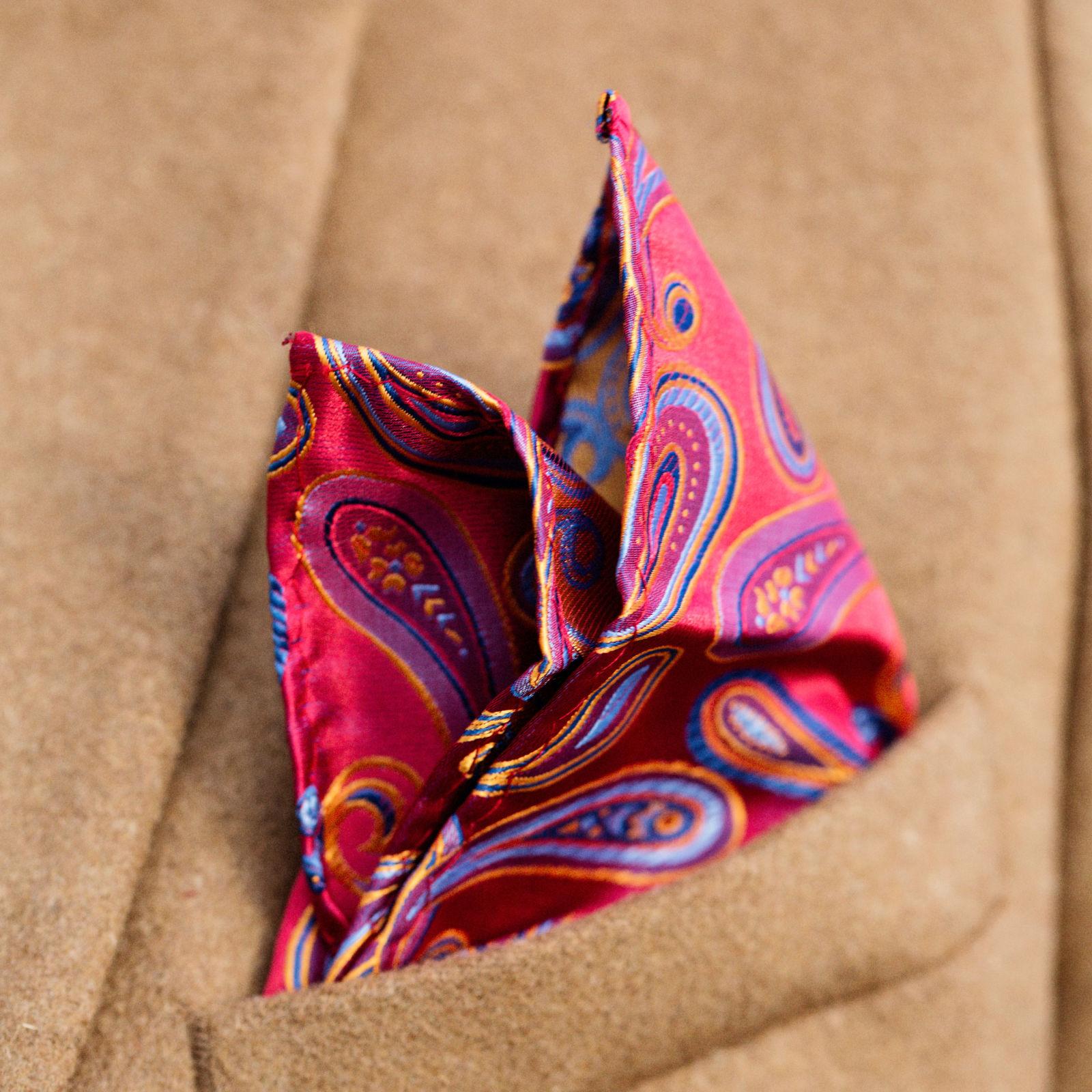 Bold Red Paisley Pocket Square Trendhim