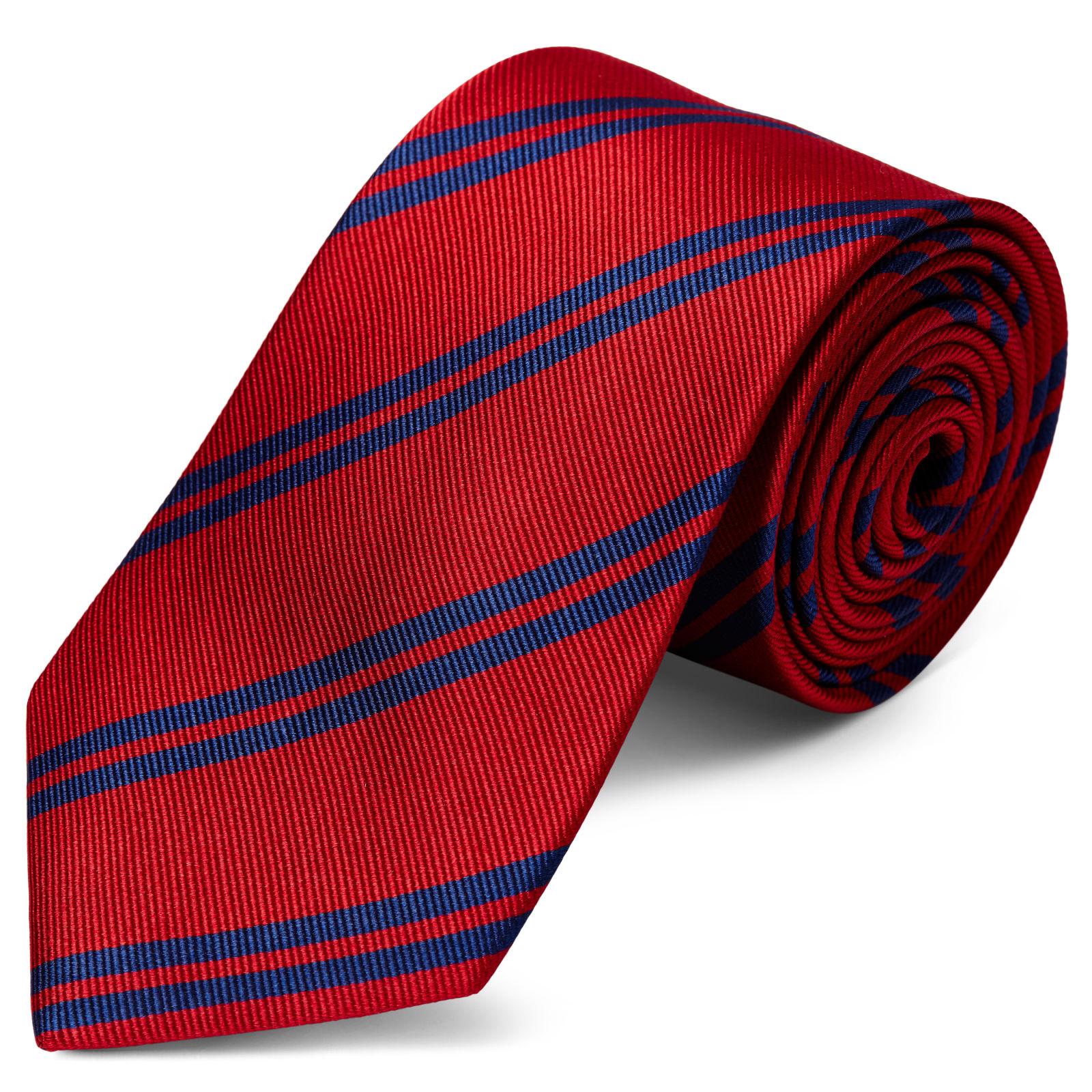 Navy Twin Stripe Blue Silk 8cm Necktie Trendhim