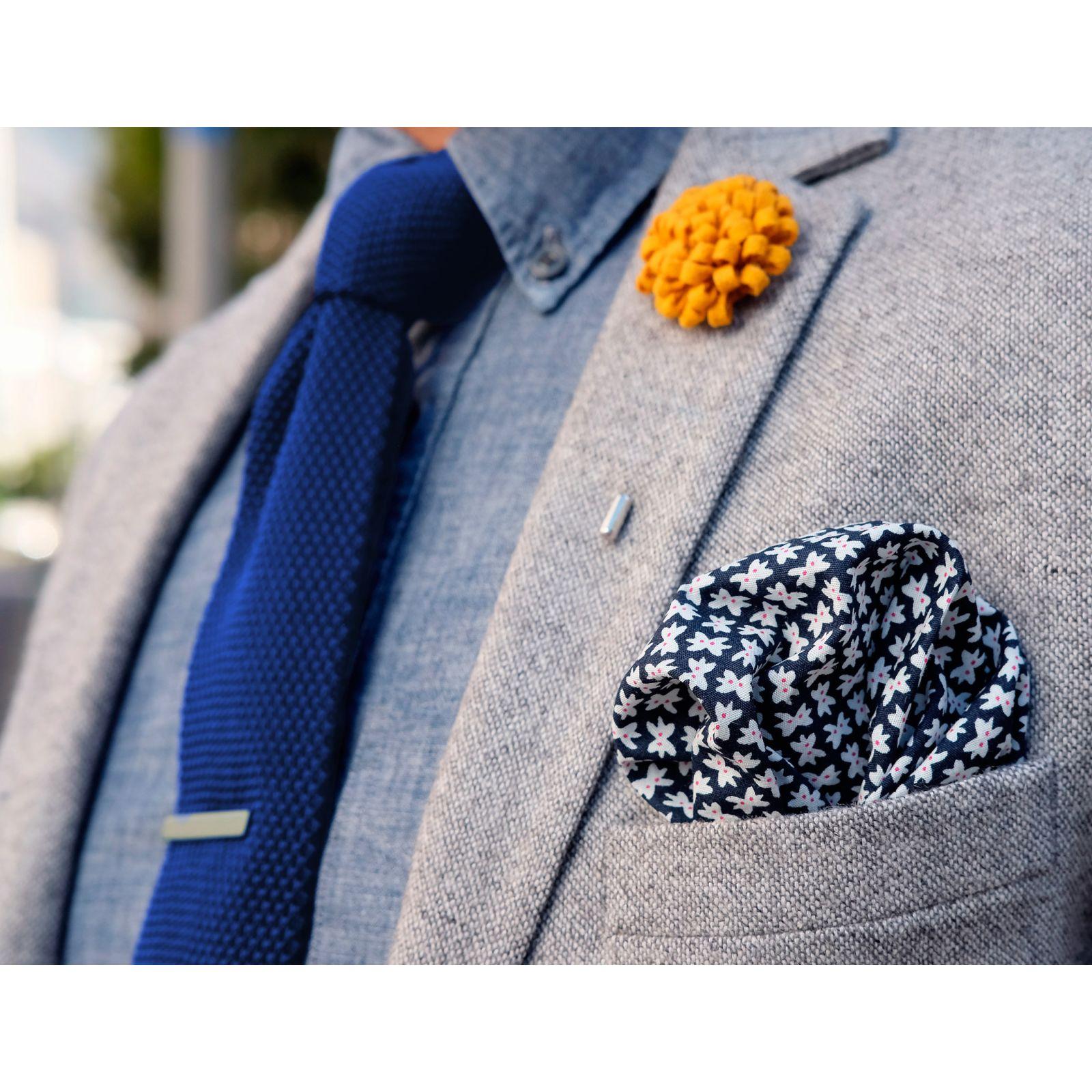White & Blue Stripe Knitted Tie Trendhim