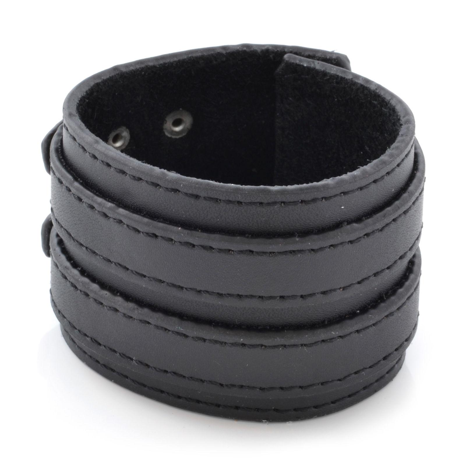 abe55c957c Fekete színű dupla csatos bőr karkötő | Készleten! | Collin Rowe