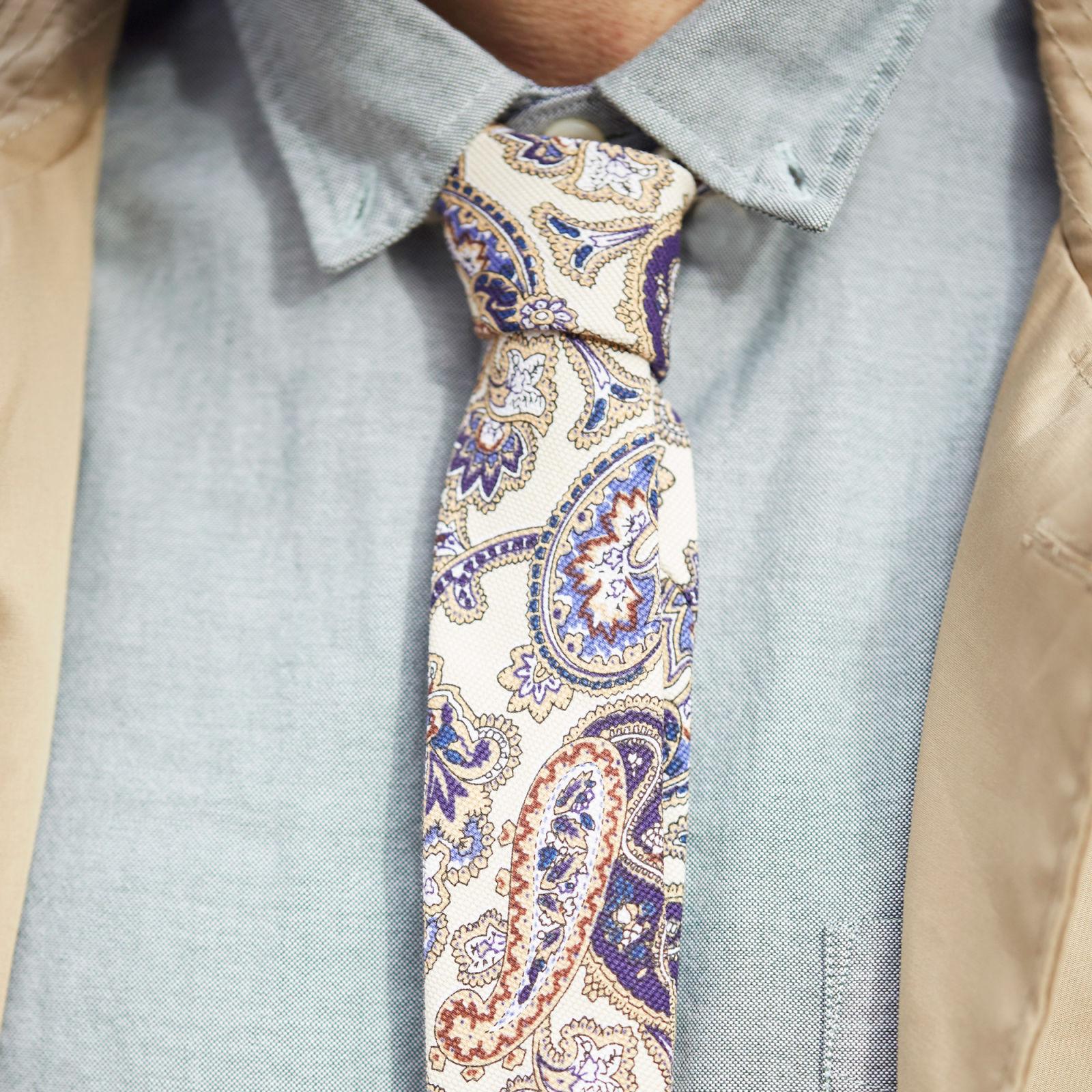 Corbata crema con diseño de cachemira  6579a9cf77b