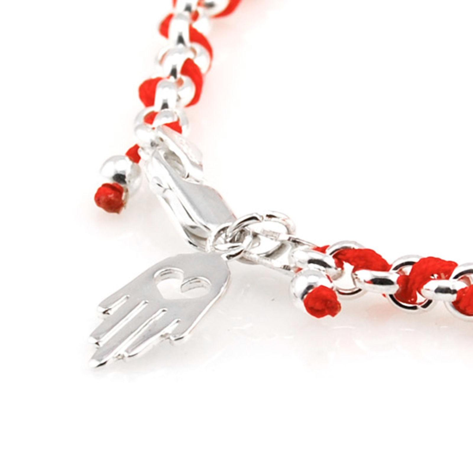 Bracelet chaîne argent et rouge Kabbale   Port gratuit 0e85338c16c2