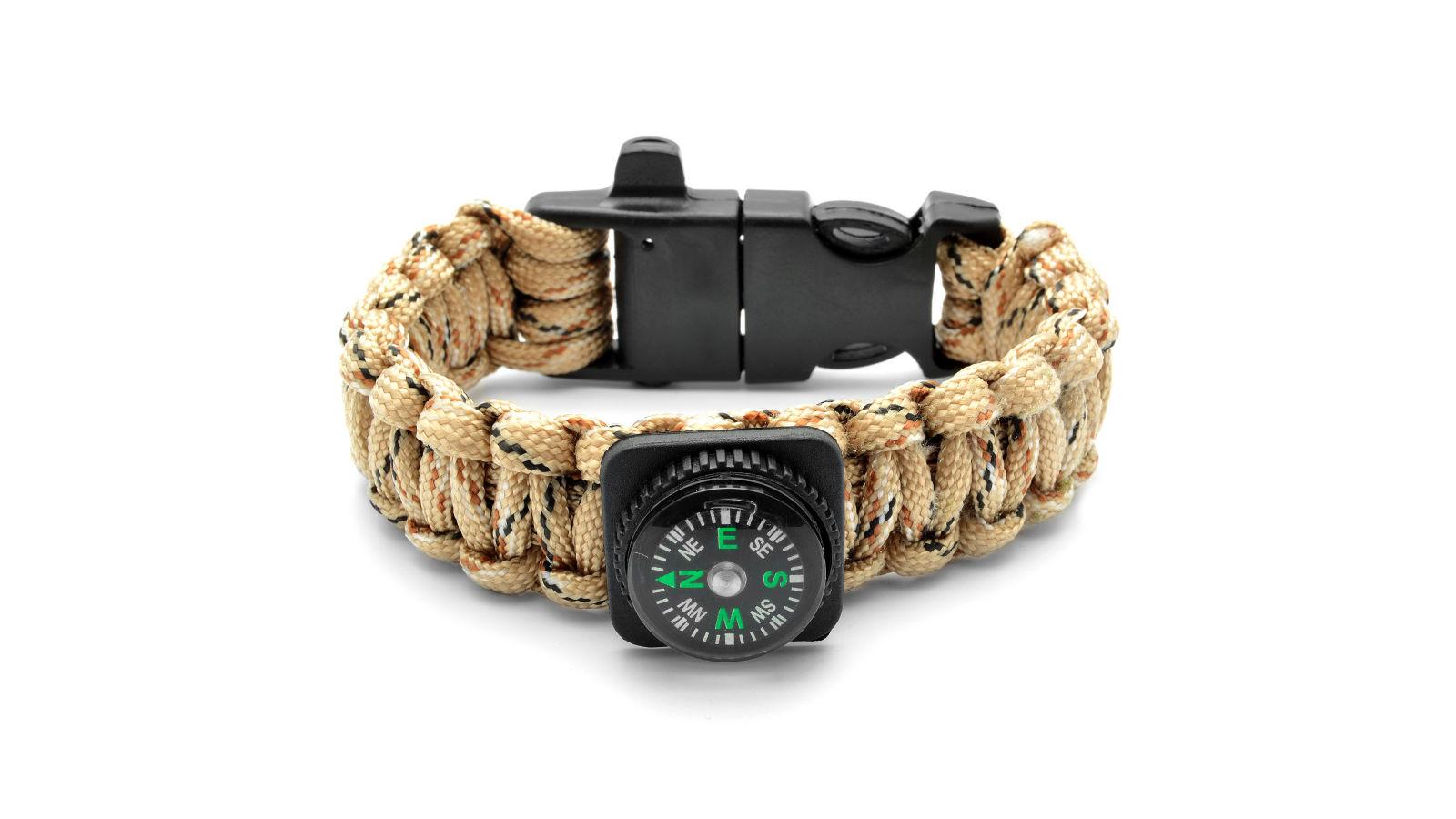 Paracord náramok s kompasom a kresadlom v pieskovej farbe  be0f7224374