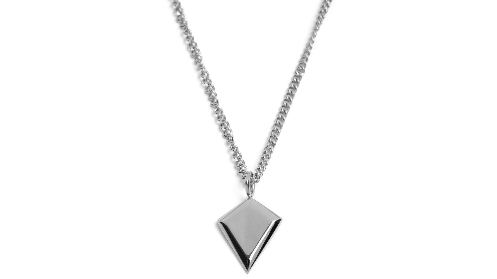 Collier en acier pendentif argent en forme de diamant port gratuit lucleon - Trend corner frais de port gratuit ...