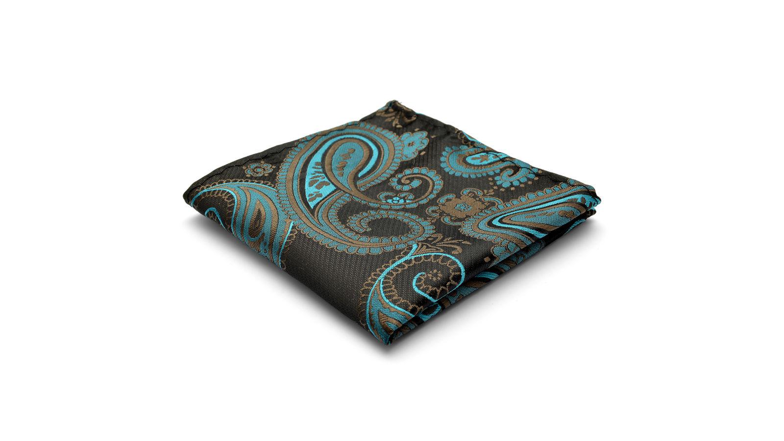 3cd1a4d1dd8 Pañuelo de bolsillo de seda con estampado de cachemir turquesa | ¡En stock!  | Tailor Toki