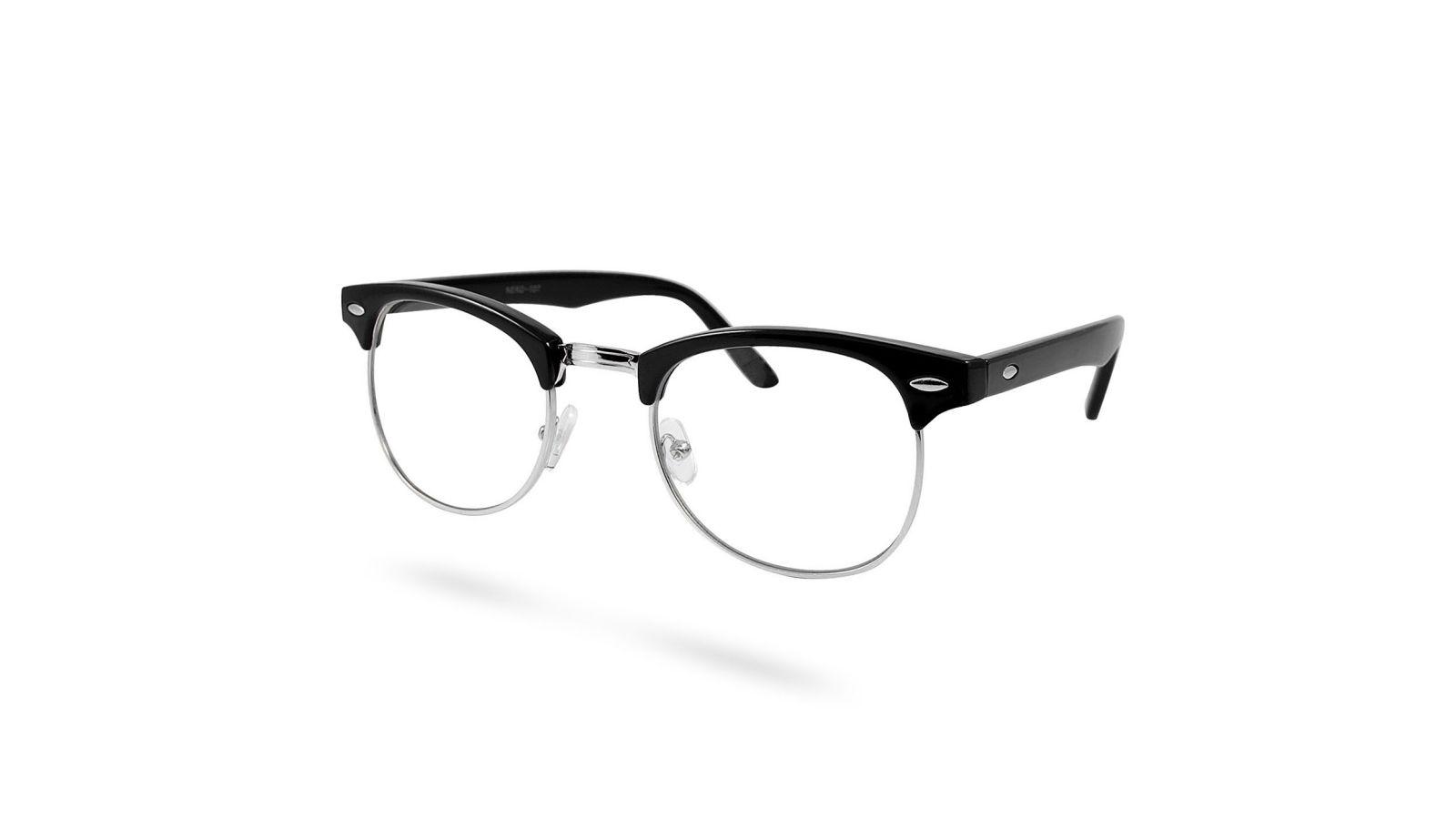 425bb2af3add Sorte Sølv Klare Vintage Briller