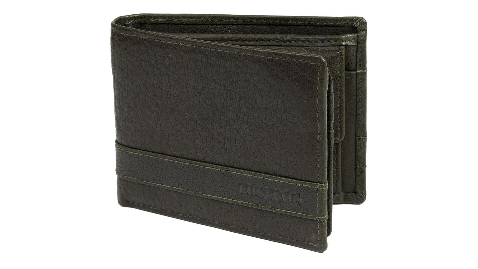 portefeuille montreal deux volets en cuir vert olive rfid port gratuit lucleon. Black Bedroom Furniture Sets. Home Design Ideas