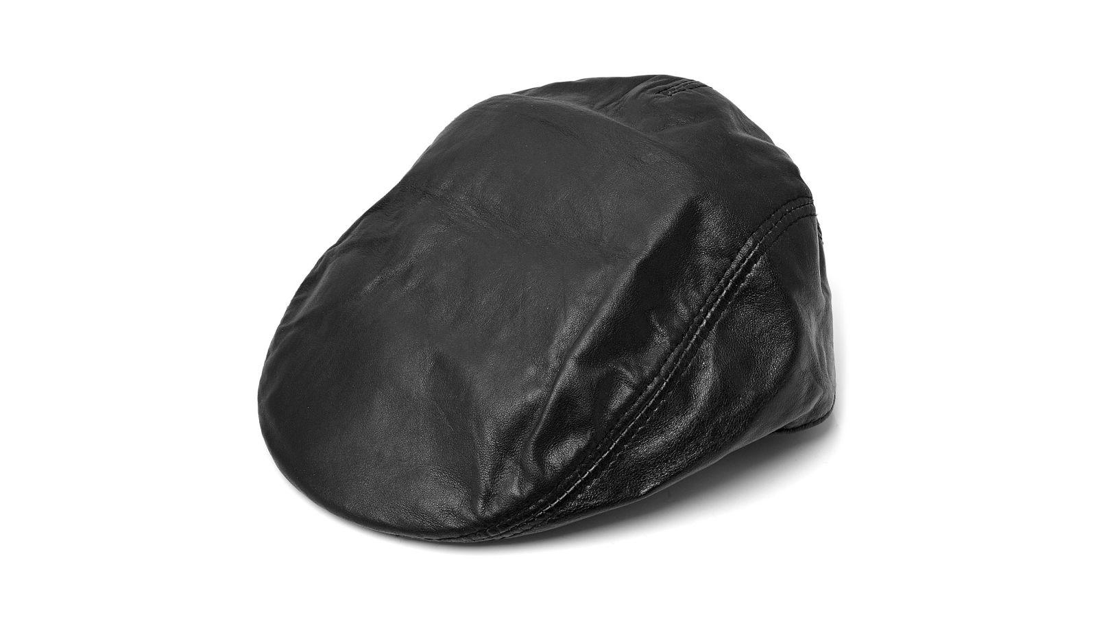 Servizio Spedizione Pelle : Berretto piatto di pelle nero opaco spedizione gratuita
