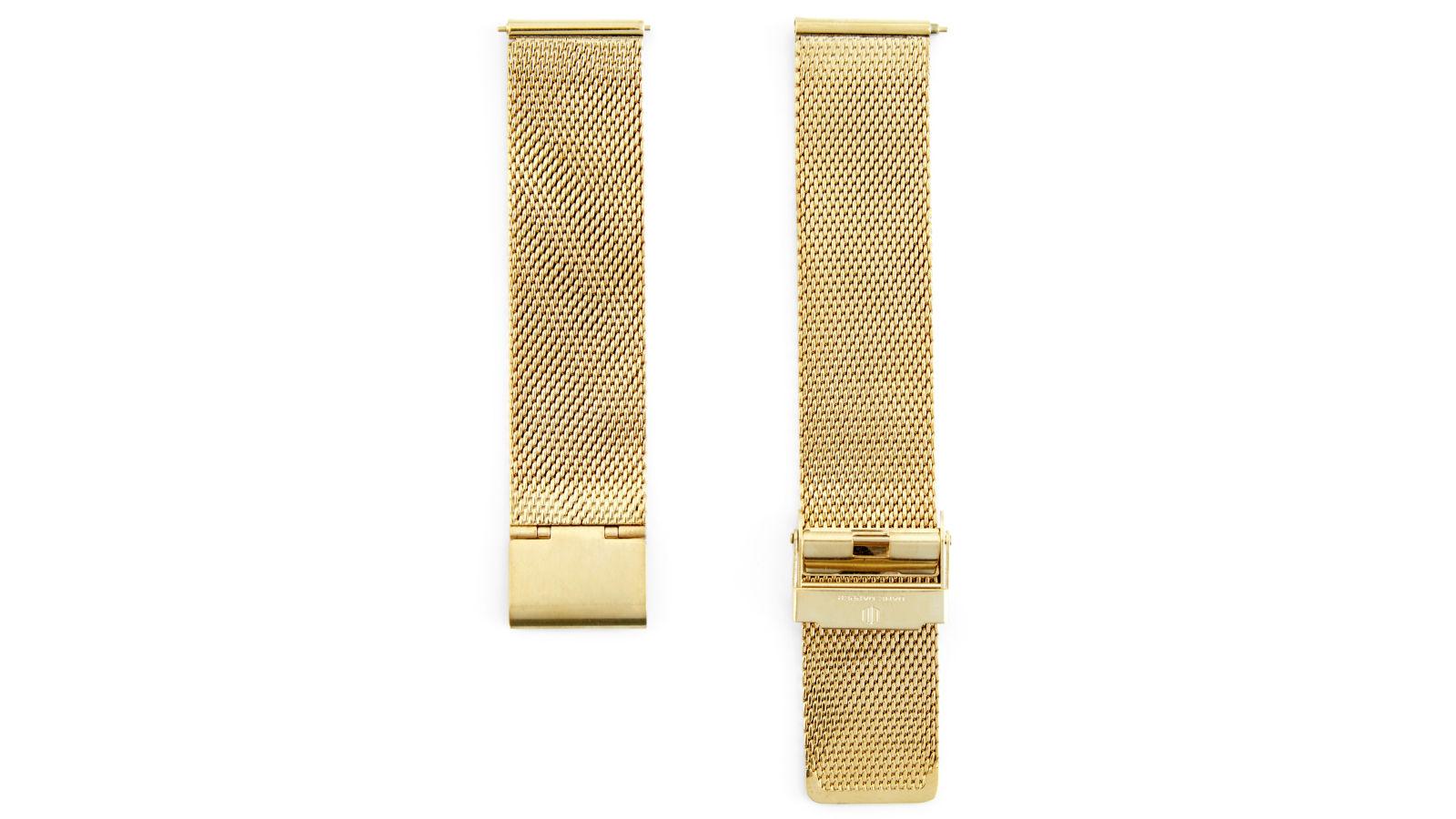 306019a4a446 Correa para reloj de malla metálica dorada