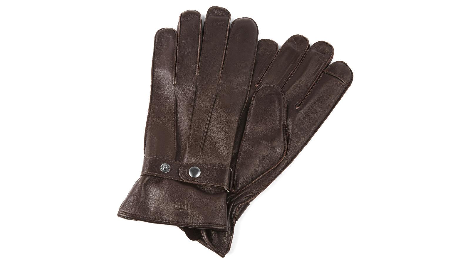 5815a0dcb49 Hnědé kožené rukavice s páskem