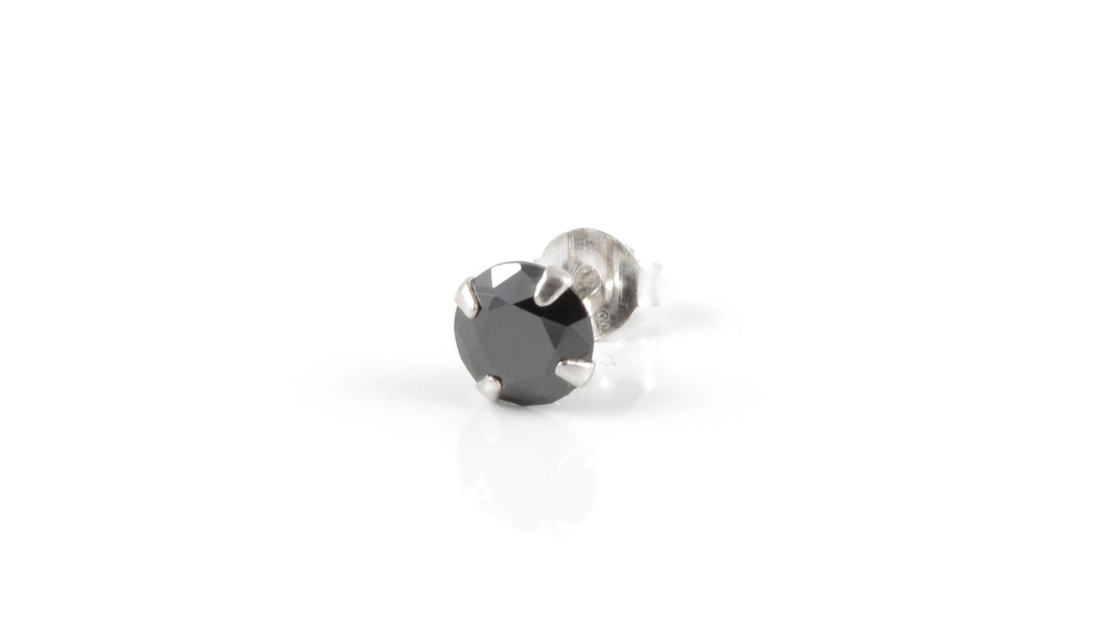 Boucle d 39 oreille ronde en oxyde de zirconium noir port gratuit fort tempus - Trend corner frais de port gratuit ...
