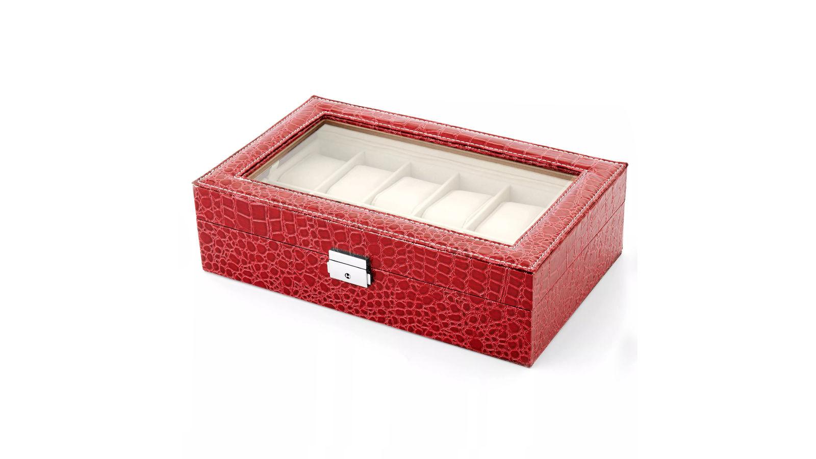 Coffret pour montre de couleur rose motif crocodile 12 montres port gratuit warren asher - Trend corner frais de port gratuit ...