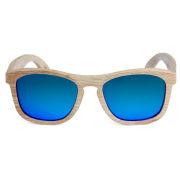 Lunettes de soleil bois clair et verres bleus polarisés   Port ... b05ca93fbf22