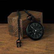 Čierne vreckové hodinky s čiernym číselníkom Time Keeper. Priblížiť f2a308138e1