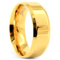Blank Gold Angular Steel Ring Trendhim