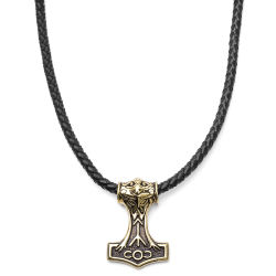 Gold Wolf Brown Leather Necklace Trendhim
