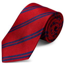 Pastel Blue & Red Stripe Navy Silk 8cm Necktie Trendhim