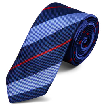 Pastel Blue & Red Stripe Navy Silk 6cm Necktie Trendhim