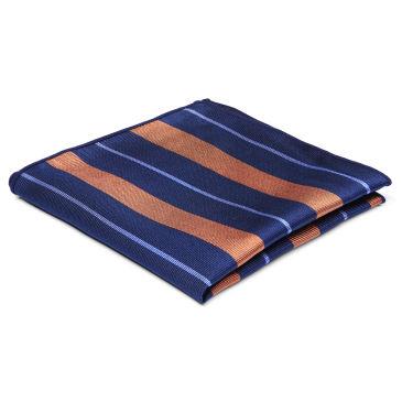 Orange & Pastel Blue Stripe Navy Silk Cravat Trendhim