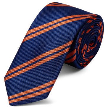 Red & Gold Stripe Navy Silk 8cm Necktie Trendhim