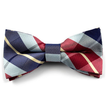 Blue / Bordeaux Chequered Bow Tie Trendhim