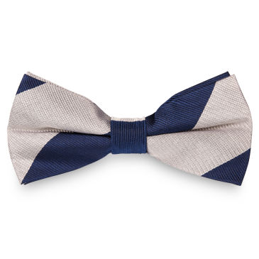 White & Navy Stripe Silk Self Tie Bow Tie Trendhim