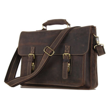 Dark Brown Student Leather Bag Delton Bags