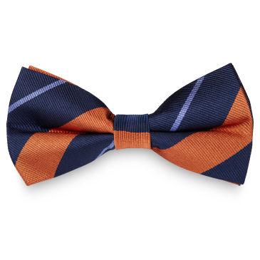 Pink & Pastel Blue Stripe Navy Silk Bow Tie Trendhim