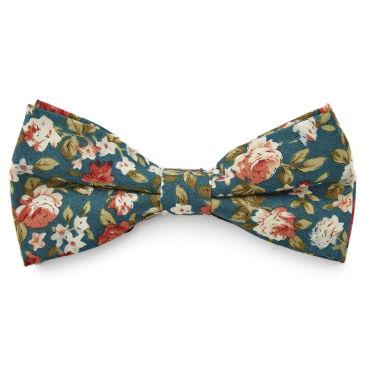 Cream Floral Self Tie Bow Tie Bohemian Revolt