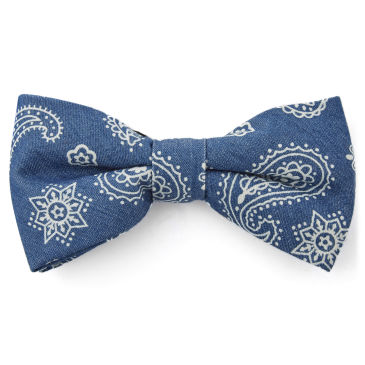 Navy & Blue Paisley Polyester Pre-Tied Bow Tie Trendhim