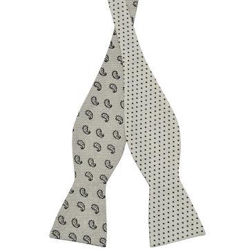 White Dotted Cotton Self Tie Reversible Bow Tie Trendhim