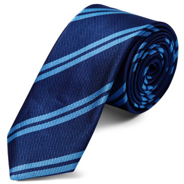 Pastel Blue Twin Stripe Navy Silk Pocket Square Trendhim